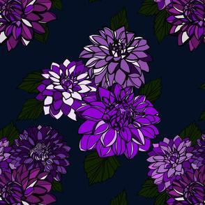 Dahlias Ink Blue