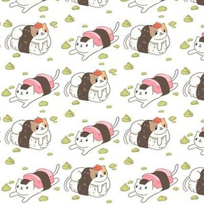 Sushi Cats on White