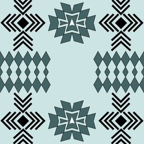 Pine and Mint Green Tribal Aztec