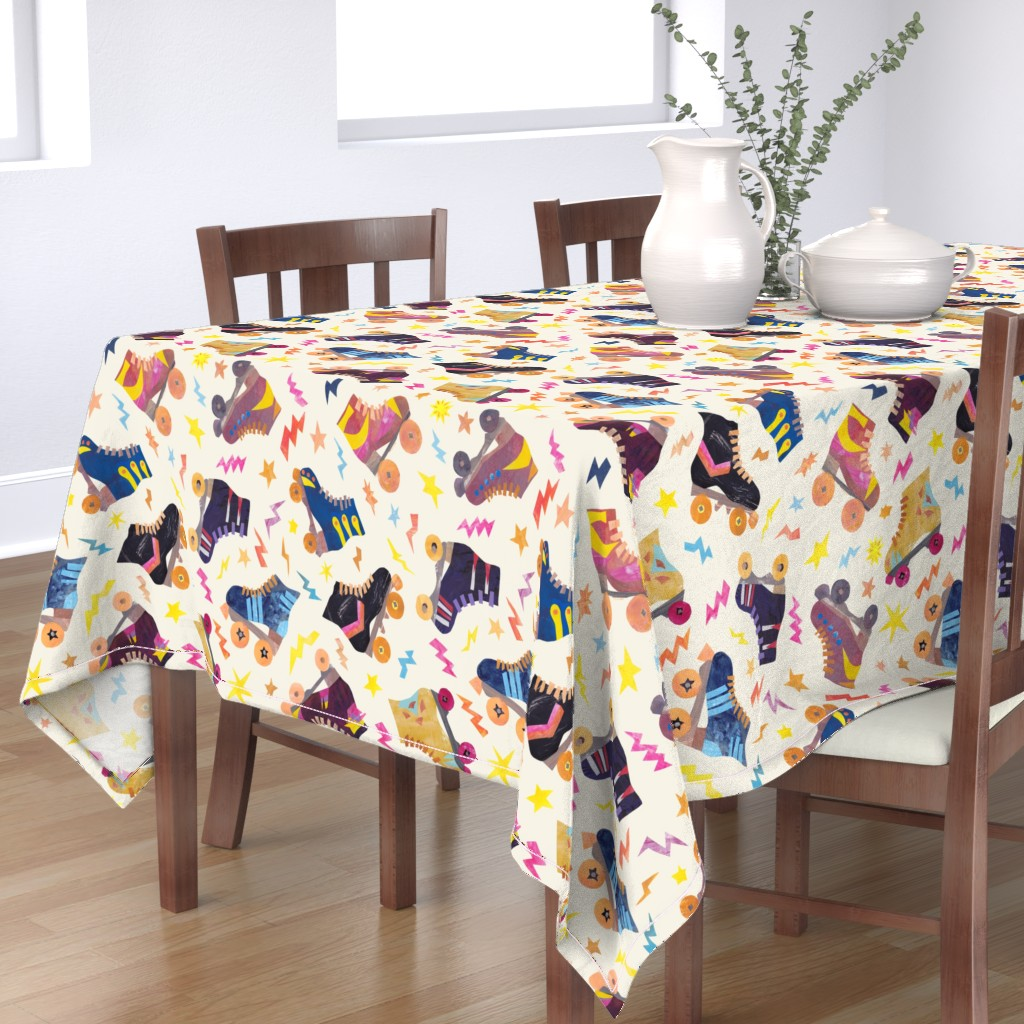 Bantam Rectangular Tablecloth featuring Late 70s Early 80s Nostalgia Collage Roller Skates by squirrelcoffee