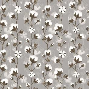Cotton pods on grey beige