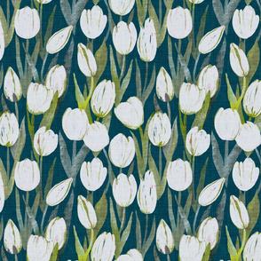White tulips on dark teal