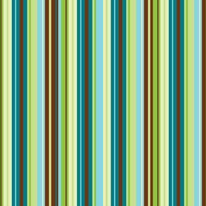 Stripes in blues, greens, cream & brown