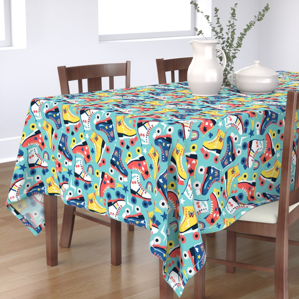 Bantam Rectangular Tablecloth featuring they see me rollin' by laura_may_designs