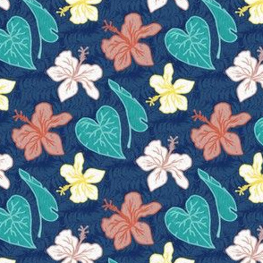 Tropical Floral on Navy