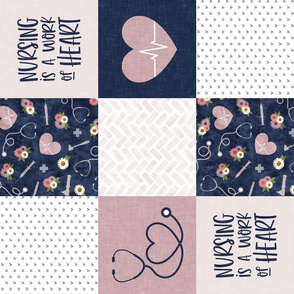 Nursing is a work of heart - Nurse patchwork wholecloth - Navy/Mauve (90) - LAD20