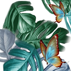 Tropical Blue Green Leaves on white L print