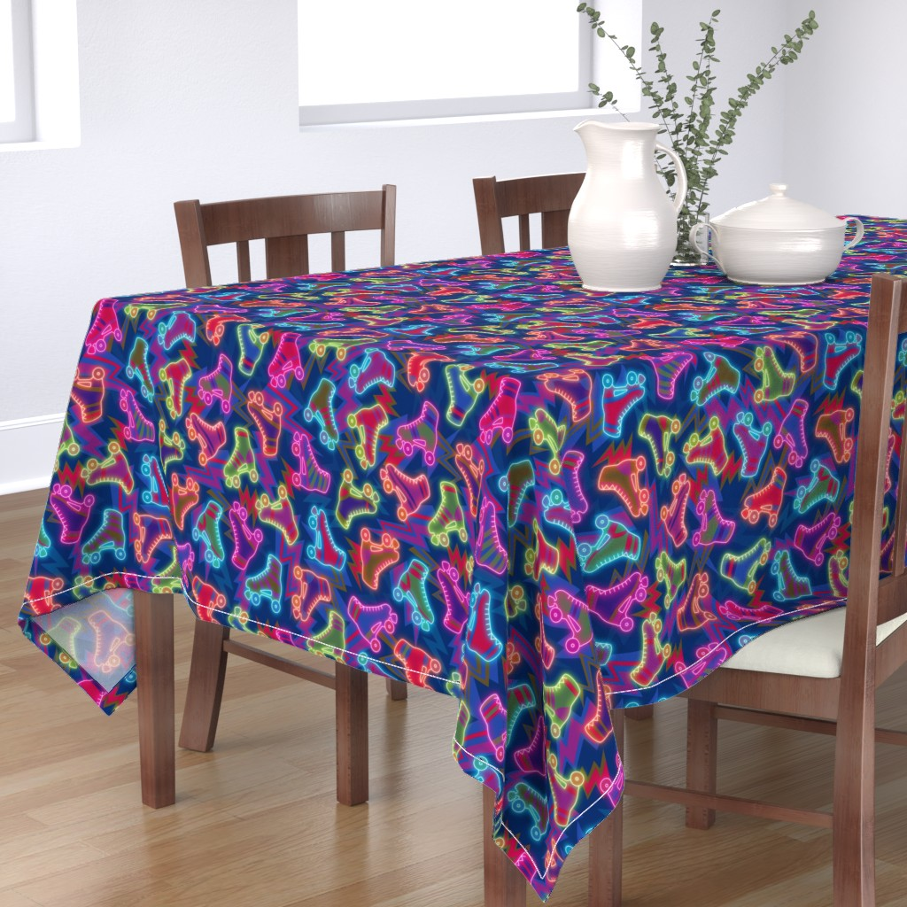 Bantam Rectangular Tablecloth featuring 80s neon roller skates by simut