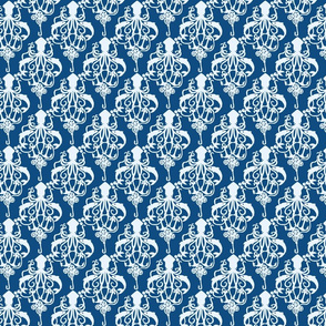 Squid Damask Classic Blue - Small Scale
