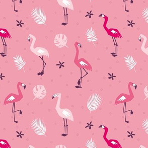 Pink Flamingo with tropical leaves on pink