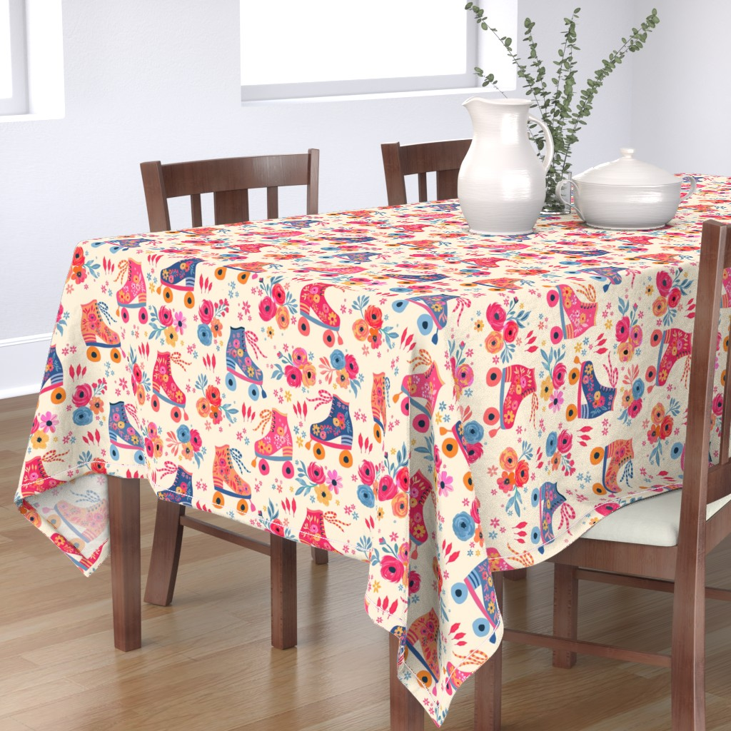 Bantam Rectangular Tablecloth featuring Vintage Rollerskate Party by jill_o_connor