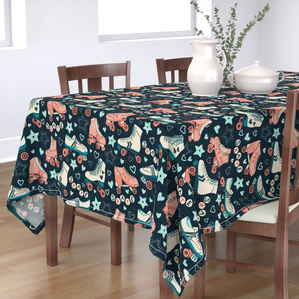 Bantam Rectangular Tablecloth featuring Roller Skate Love by ramarama