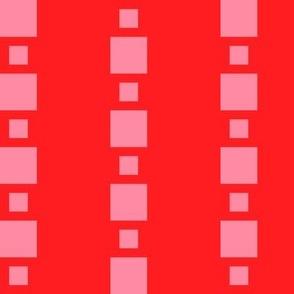 JP37  - Large - Floating Check Stripes in Pastel Coral on Scarlet Red