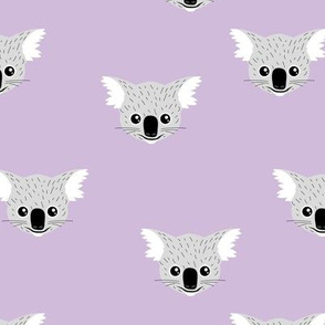 Little kawaii Australian koala bear baby friends outback animals for kids lilac violet lavender purple