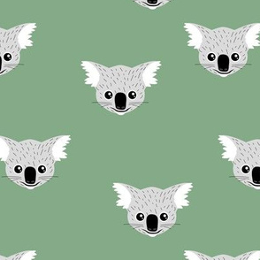 Little kawaii Australian koala bear baby friends outback animals for kids sage green