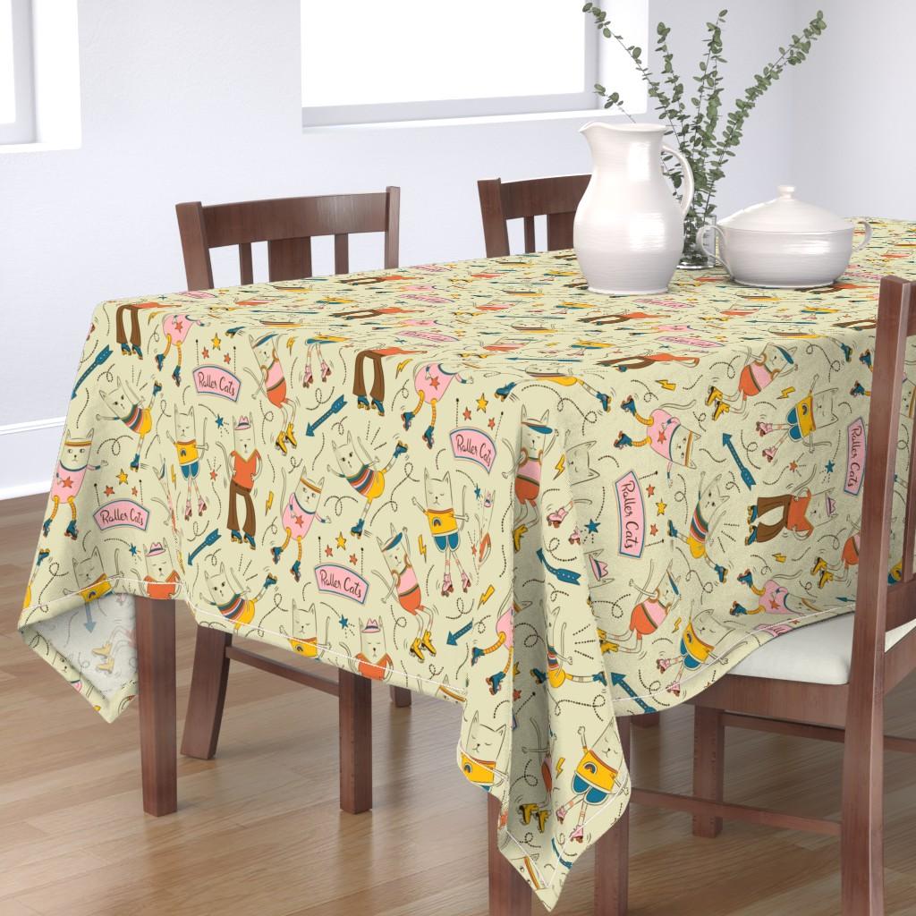 Bantam Rectangular Tablecloth featuring Roller Cats by circe_oropeza
