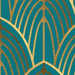 art deco arches teal bright (large scale)