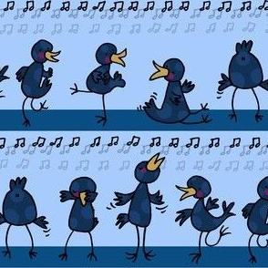 Birds learning to dance -another blue