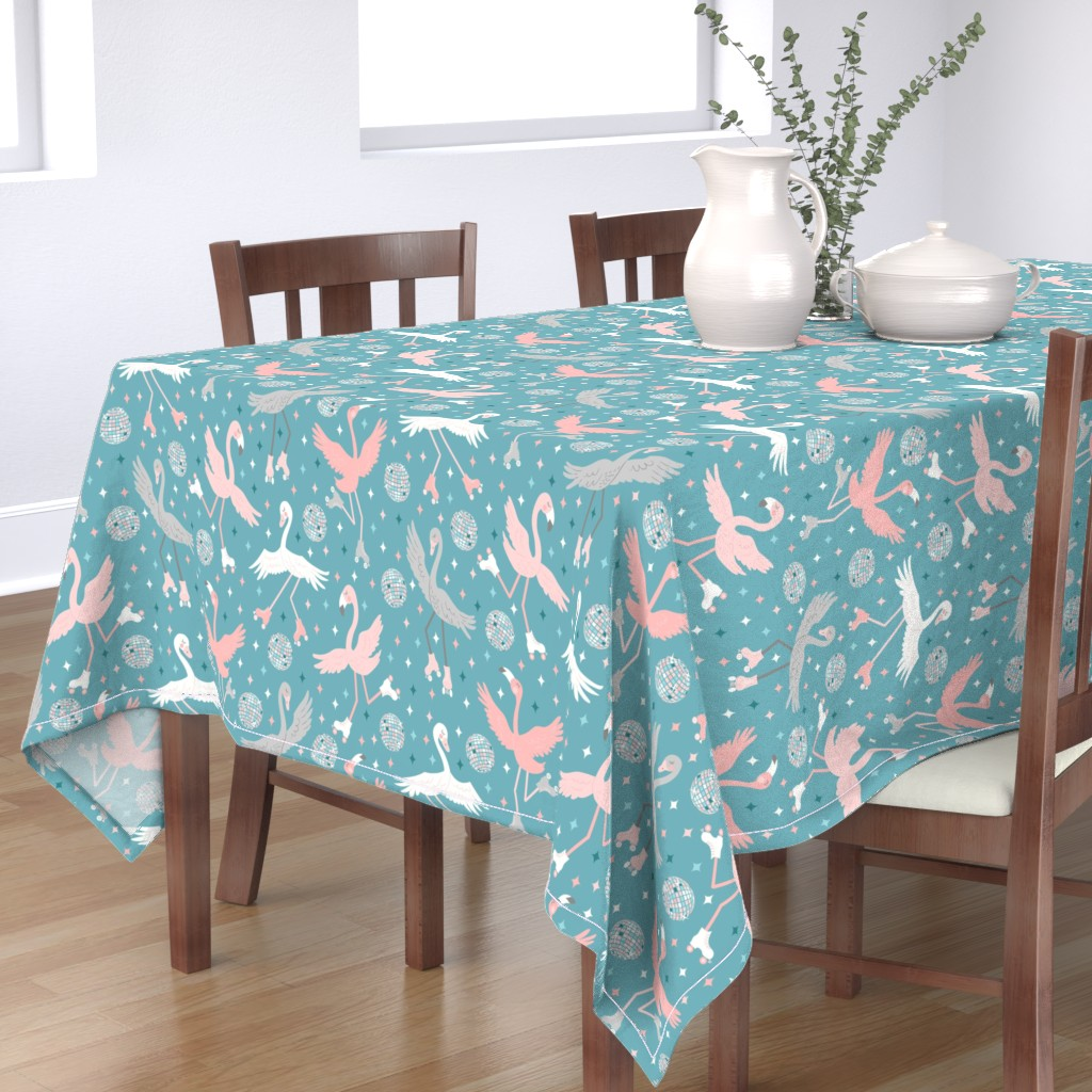 Bantam Rectangular Tablecloth featuring Disco Roller Birds by de_koro