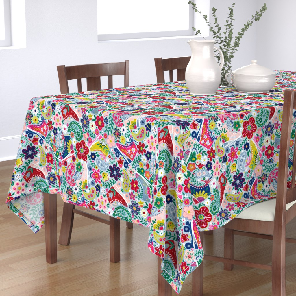 """Bantam Rectangular Tablecloth featuring Blooming Roller Rink (dusty blue) 24"""" by helenpdesigns"""