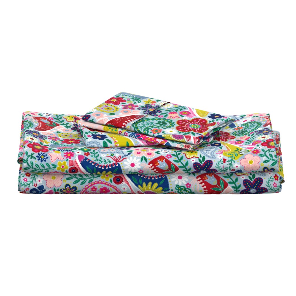 """Langshan Full Bed Set featuring Blooming Roller Rink (dusty blue) 24"""" by helenpdesigns"""