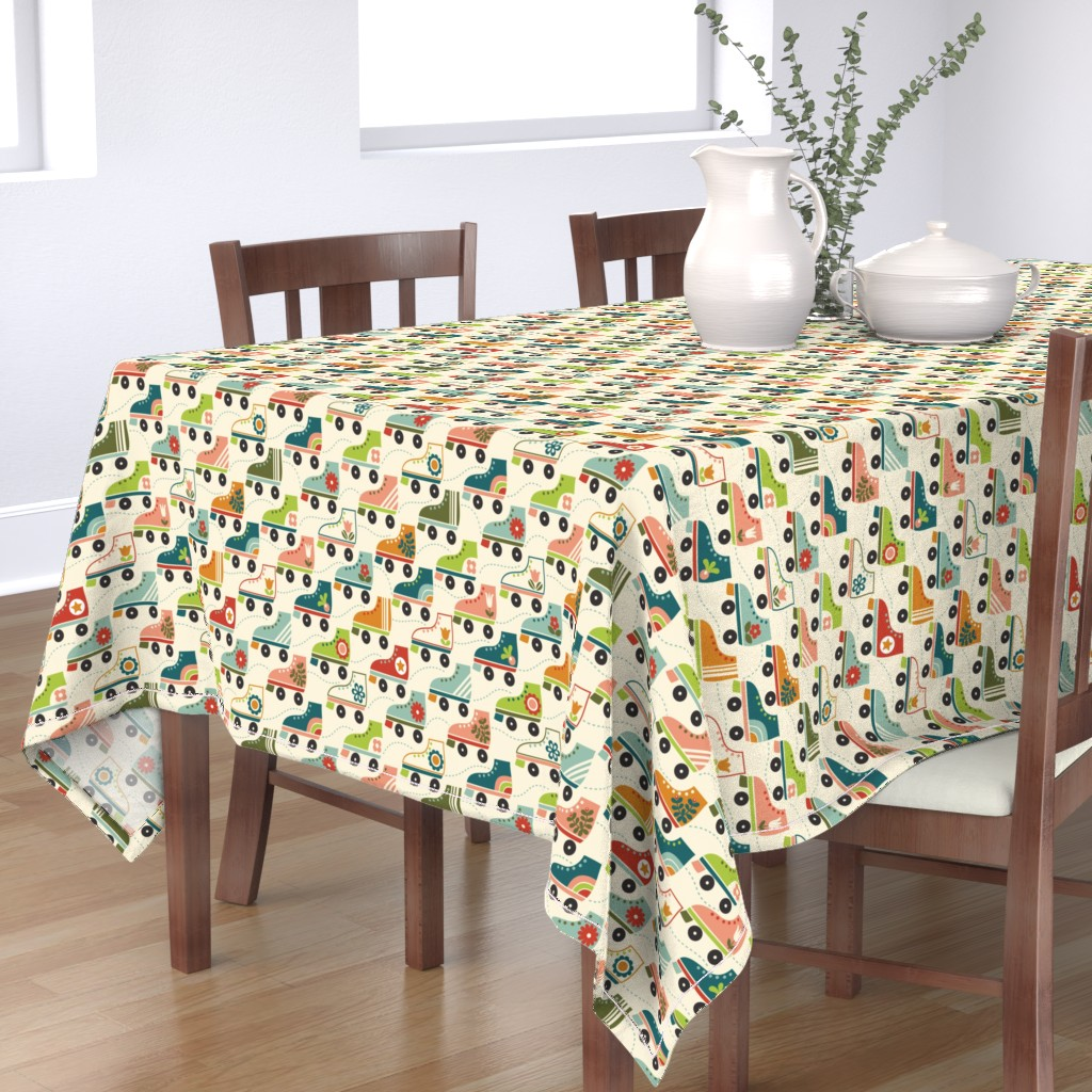Bantam Rectangular Tablecloth featuring Oldschool Roller Skates by studio_amelie