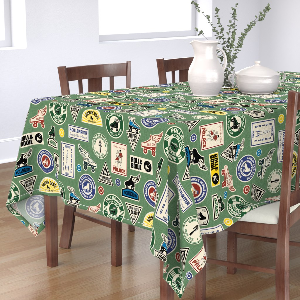Bantam Rectangular Tablecloth featuring All Skate Vintage Roller Rink Stickers by lellobird