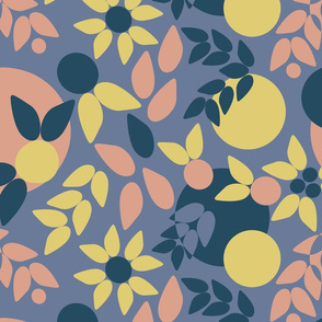 Flowy Abstract Botanical Blue