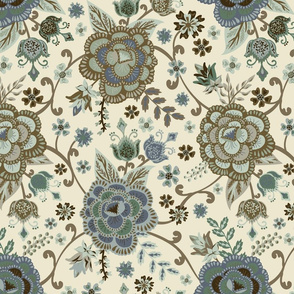 Blue Chintz - Cream - Medium