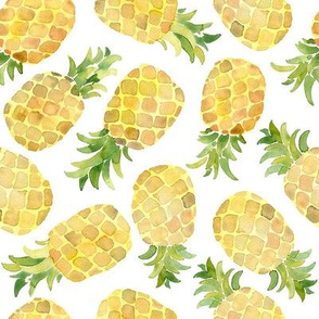Watercolor pineapples on white background