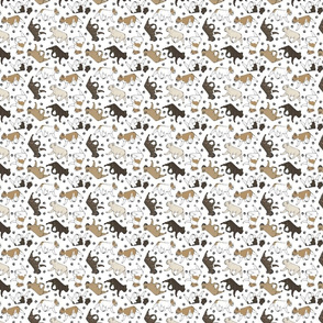 Tiny Trotting French Bulldogs and paw prints - white
