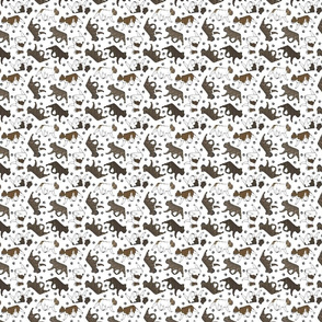 Tiny Trotting brindle French Bulldogs and paw prints - white