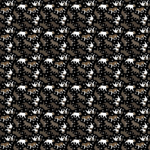 Tiny Trotting brindle French Bulldogs and paw prints - black