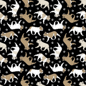 Trotting fawn French Bulldogs and paw prints - black