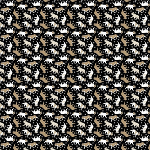 Tiny Trotting fawn French Bulldogs and paw prints - black