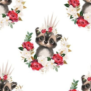 Red magnolia floral raccoon with crown