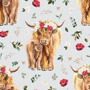 red rose magnolia Scottish highland cow floral