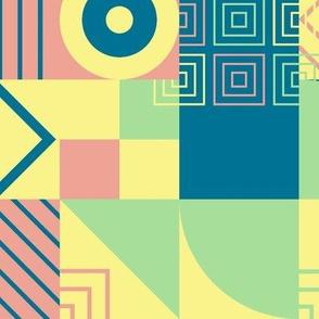 Bauhaus block party - misty rainbow small