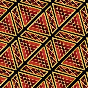 Gold Foil Art Deco Sophisticated Angles in Magenta Tile