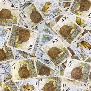 NZ stamps - kiwi & wrens - large