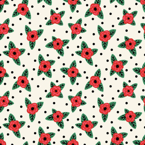 Retro Roses & Polka Dots (Large Scale)
