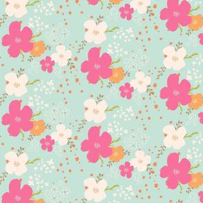Boho Flowers Pink Orange and White