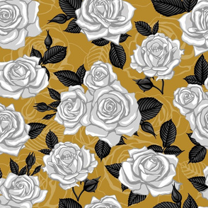 White Vintage Roses on Mustard (Large Scale)