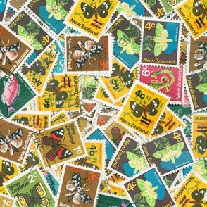 NZ stamps - moths & fish - large