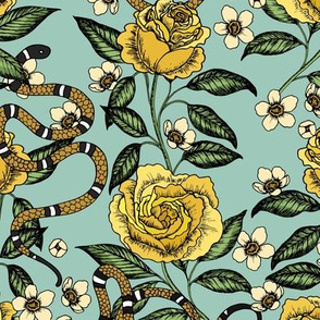 Roses and snakes. Yellow and mint