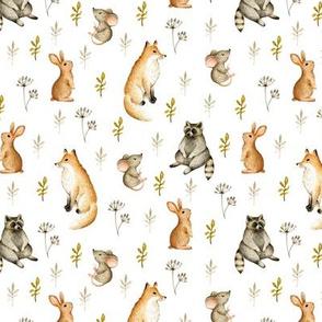 Cute animals. Mouse, fox, rabbit, raccoon