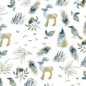 Deer and birds. Watercolor forest