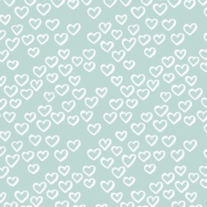 Little love dream minimal hearts ink sketch raw brush valentine design sage green SMALL
