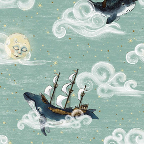 9 inch whales and narwhal tall ship and clouds in night sky  Whimsical Wonderland of mint / moon and stars, nursery, gender neutral baby,  home decor