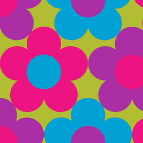 BOLD Daisies Pink Purple Blue on Green